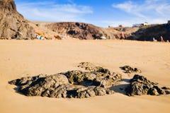 Παραλία Mujeres Playa σε Lanzarote, Κανάρια νησιά, Ισπανία Στοκ εικόνες με δικαίωμα ελεύθερης χρήσης