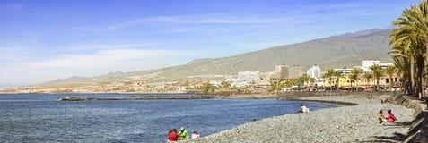 Παραλία Playa de Las Αμερική, Tenerife, Κανάρια νησιά, SP χαλικιών Στοκ Εικόνα