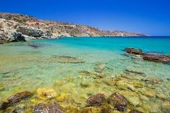 Παραλία Vai με την μπλε λιμνοθάλασσα στην Κρήτη Στοκ Εικόνες