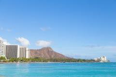 Παραλία Waikiki και επικεφαλής βουνό διαμαντιών, Χαβάη, ΗΠΑ στοκ εικόνες