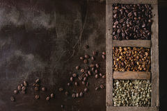 Παραλλαγή των φασολιών καφέ στοκ εικόνες