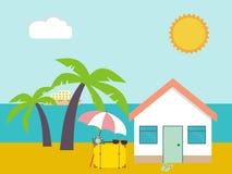 παραλιών ακτών θερινή κυματωγή πετρών άμμου της Κύπρου μεσογειακή Σπίτι παραλιών στους φοίνικες και το υπόβαθρο θάλασσας Τροπικός Στοκ φωτογραφία με δικαίωμα ελεύθερης χρήσης