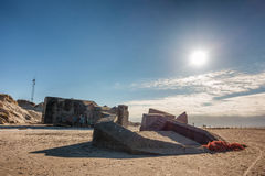 2 παραλιών αποθηκών πολεμικός κόσμος Βόρειας Θάλασσας οχυρώσεων ακτών δανικός Στοκ Εικόνα