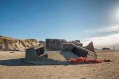 2 παραλιών αποθηκών πολεμικός κόσμος Βόρειας Θάλασσας οχυρώσεων ακτών δανικός Στοκ Εικόνες