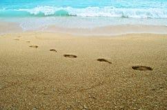 παραλιών όμορφα επίδρασης αμμώδη εμφανίζοντας ίχνη άμμου ιχνών κυματισμένα βήματα μεταδιδόμενα μέσω του ανέμου Στοκ Φωτογραφία