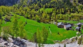 Παραδοσιακά ανδοριανά αγροκτήματα στην κοιλάδα madriu-Perafita-Claror στοκ φωτογραφία