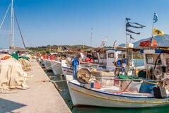 Παραδοσιακά αλιευτικά σκάφη σε Palaia Epidaurus, Ελλάδα στοκ εικόνες