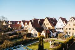 Παραδοσιακά γερμανικά σπίτια σε Rothenburg ob der Tauber στη Γερμανία Ευρωπαϊκή πόλη αρχιτεκτονική Στοκ Εικόνες