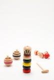 Παραδοσιακά ιαπωνικά παιχνίδια ` Darumaotoshi `, ` Kendama `, και ` Koma ` Στοκ εικόνες με δικαίωμα ελεύθερης χρήσης