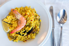 Παραδοσιακά ισπανικά θαλασσινά Paella Στοκ εικόνα με δικαίωμα ελεύθερης χρήσης
