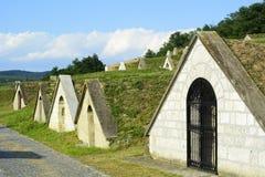 Παραδοσιακά κελάρια κρασιού στην περιοχή Tokaj - Hercegkut Sarospatak στοκ εικόνα