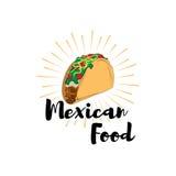 Παραδοσιακά μεξικάνικα τρόφιμα Taco Διανυσματικό πρότυπο ή έννοια ετικετών Μπορέστε να χρησιμοποιηθείτε για να σχεδιάσει τις επιλ διανυσματική απεικόνιση