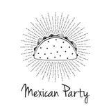 Παραδοσιακά μεξικάνικα τρόφιμα Taco Διανυσματικό πρότυπο ή έννοια ετικετών διανυσματική απεικόνιση