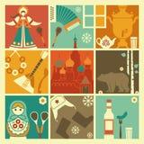 Παραδοσιακά σύμβολα της Ρωσίας διανυσματική απεικόνιση