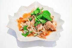 Παραδοσιακά ταϊλανδικά τρόφιμα αποκαλούμενα χοιρινό κρέας Namtok Στοκ εικόνες με δικαίωμα ελεύθερης χρήσης