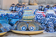 Παραδοσιακά του Ουζμπεκιστάν πιάτα για την κατανάλωση τσαγιού Στοκ φωτογραφία με δικαίωμα ελεύθερης χρήσης