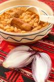 παραδοσιακά φασόλια κουζίνας με το λουκάνικο και το κόκκινο κρεμμύδι Στοκ φωτογραφίες με δικαίωμα ελεύθερης χρήσης