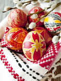 Παραδοσιακά χρωματισμένα αυγά Πάσχας Στοκ φωτογραφίες με δικαίωμα ελεύθερης χρήσης