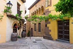 Παραδοσιακές αρχιτεκτονικές Espanyol Poble στη Βαρκελώνη Στοκ εικόνα με δικαίωμα ελεύθερης χρήσης