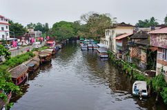 Παραδοσιακές ινδικές βάρκες σε Alleppey Στοκ εικόνα με δικαίωμα ελεύθερης χρήσης