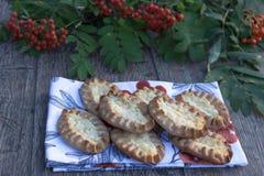 Παραδοσιακές καρελιανές πίτες στο αγροτικό ξύλινο υπόβαθρο στοκ εικόνα