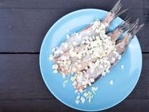 Παραδοσιακές ολλανδικές ακατέργαστες ρέγγες με τα κρεμμύδια στο πιάτο Στοκ φωτογραφία με δικαίωμα ελεύθερης χρήσης