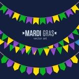 Παραδοσιακές σημαίες της Mardi Gras καθορισμένες απομονωμένες στο σκοτεινό υπόβαθρο διανυσματική απεικόνιση