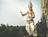 Παραδοσιακή έννοια γυναικών Angkor Wat χορευτών Aspara Στοκ Εικόνες