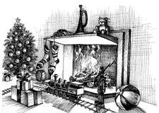 Παραδοσιακή εσωτερική σκηνή Χριστουγέννων ελεύθερη απεικόνιση δικαιώματος