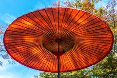 Παραδοσιακή ιαπωνική κόκκινη ομπρέλα Στοκ Φωτογραφία