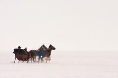 Παραδοσιακή μεταφορά αλόγων με το έλκηθρο στη λίμνη Cildir Στοκ εικόνες με δικαίωμα ελεύθερης χρήσης