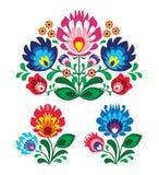 Πολωνικό floral λαϊκό σχέδιο κεντητικής απεικόνιση αποθεμάτων