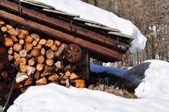 Παραδοσιακή ξύλινη λεπτομέρεια αρχιτεκτονικής κοιλάδων Aosta Στοκ εικόνα με δικαίωμα ελεύθερης χρήσης