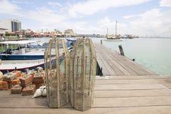 Παγίδα ψαριών στο λιμενοβραχίονα σε Penang Στοκ φωτογραφία με δικαίωμα ελεύθερης χρήσης