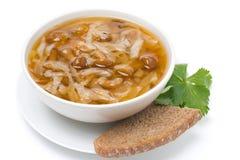 Παραδοσιακή ρωσική σούπα λάχανων (shchi) με το μανιτάρι, που απομονώνεται Στοκ Φωτογραφίες