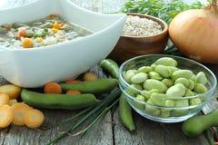 Παραδοσιακή σούπα φασολιών fava που γίνεται με τα λαχανικά κήπων στοκ εικόνα
