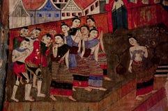 Παραδοσιακή ταϊλανδική ζωγραφική, βόρειο ύφος της Ταϊλάνδης Στοκ φωτογραφία με δικαίωμα ελεύθερης χρήσης