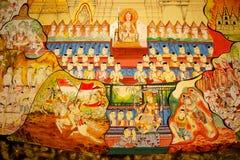 Παραδοσιακή ταϊλανδική ζωγραφική τέχνης ύφους στον τοίχο του ναού (Ramayana s Στοκ Εικόνες