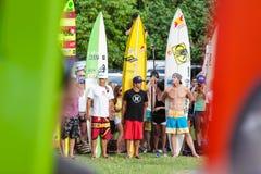 Παραδοσιακή της Χαβάης τελετή έναρξης του Eddie Aikau Στοκ Φωτογραφίες