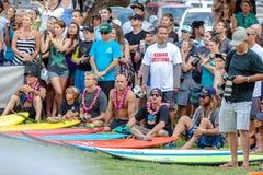 Παραδοσιακή της Χαβάης τελετή έναρξης του Eddie Aikau Στοκ Φωτογραφία