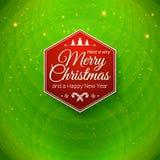 Παραδοσιακή Χαρούμενα Χριστούγεννα και κάρτα καλής χρονιάς Στοκ Εικόνες