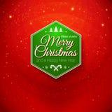 Παραδοσιακή Χαρούμενα Χριστούγεννα και κάρτα καλής χρονιάς. Τυπογραφικός Στοκ Εικόνα