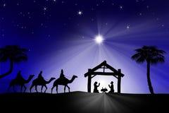 Παραδοσιακή χριστιανική σκηνή Nativity Χριστουγέννων με τα τρία WI Στοκ Εικόνα