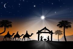 Παραδοσιακή χριστιανική σκηνή Nativity Χριστουγέννων με τα τρία WI διανυσματική απεικόνιση