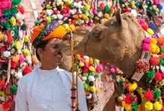 Παραδοσιακός ανταγωνισμός διακοσμήσεων καμηλών στο mela καμηλών σε Pushka στοκ εικόνες