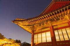 Παραδοσιακός Ασιάτης που χτίζει τη νύχτα - Σεούλ, Δημοκρατία της Κορέας Στοκ Εικόνες