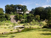 Παραδοσιακός ιαπωνικός κήπος τοπίων λόγω του κάστρου Kanazawa Στοκ εικόνα με δικαίωμα ελεύθερης χρήσης