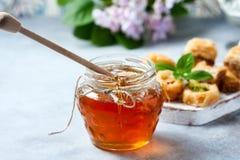 Παραδοσιακό αραβικό επιδόρπιο Baklava με το μέλι και τα καρύδια, εκλεκτική εστίαση Στοκ εικόνα με δικαίωμα ελεύθερης χρήσης