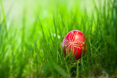 Παραδοσιακό αυγό Πάσχας στη φρέσκια χλόη άνοιξη στοκ εικόνα