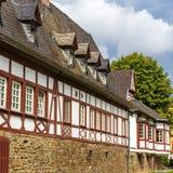 Παραδοσιακό γερμανικό helf-εφοδιασμένο με ξύλα σπίτι σε Koblenz Στοκ Φωτογραφία